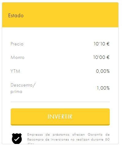 Prima de venta Mercado secundario plataforma en Viventor P2P